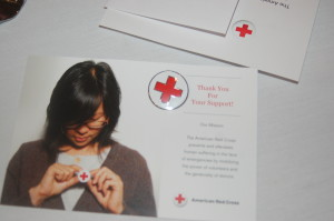 Red Cross support pins were given to guests at the Southern Utah Red Cross Heroes event held at the Hilton Garden Inn, St. George, Utah, April 7, 2016 | Photo by Hollie Reina, St. George News