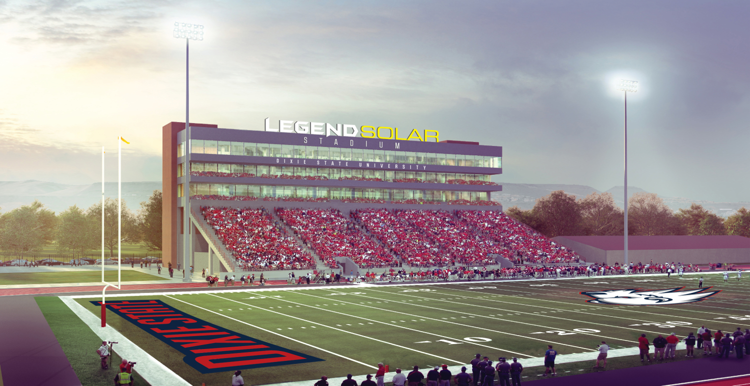 An architectural rendering of Legend Solar Stadium. A $10 million grant from Legend Solar will fund a major renovation of Hansen Stadium, which will be renamed | Image courtesy of Dixie State University, St. George News