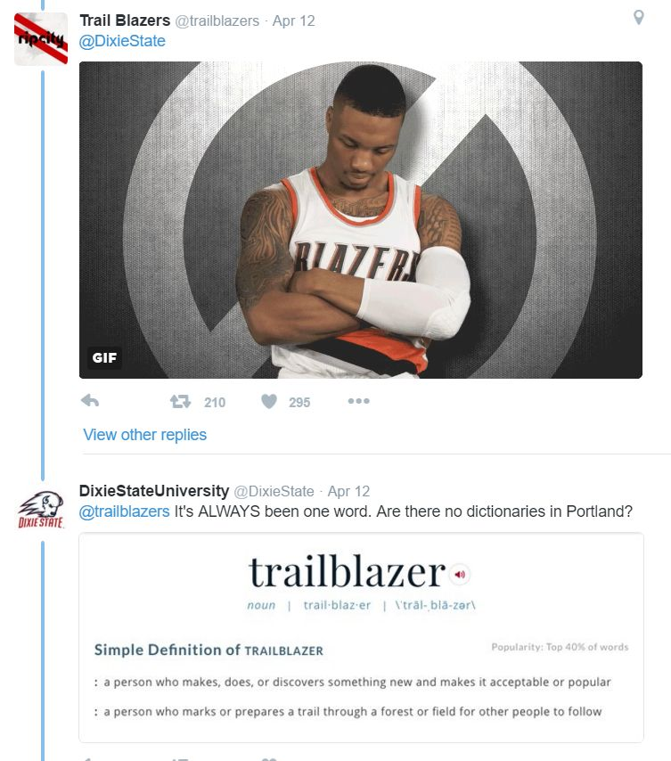 Dixie State University and NBA team from Oregon, the Portland Trail Blazers, tweet over Dixie State's new brand, the Trailblazers. April 12, 2016 | Image via @trailblazer Twitter feed, St. George News