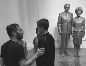 The Dayton Boys, in the shadow of statues of Ronald and Nancy Reagan, getting last minute instruction from their father about Presidential Library etiquette. Ronald Reagan Presidential Library and Museum, Simi Valley, California, March 21, 2016. Photo by Kat Dayton, St. George News