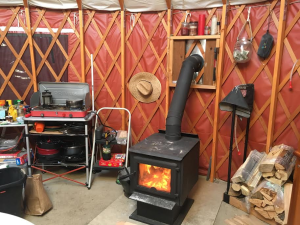 A wood burning stove keeps Yurt 2 warm and toasty for guests in the Gooseberry Yurts. Apple Valley, Utah, April 13, 2016 | Photo by Hollie Reina, St. George News