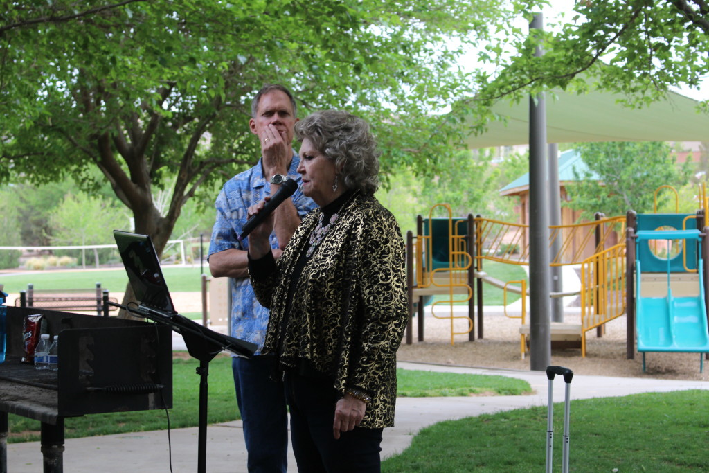 """Judy Halford """"entertaining the troops"""" at the Vietnam Veterans of America Barbeque, Tonaquint Park, St. George, Utah, Apr. 14, 2016  Photo by Cody Blowers, St. George News"""