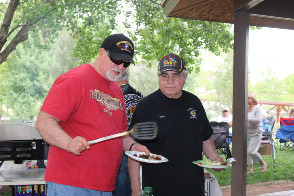Vietnam veterans cooking at the Vietnam Veterans of America Barbecue, Tonaquint Park, St. George, Utah, Apr. 14, 2016| Photo by Cody Blowers, St. George News