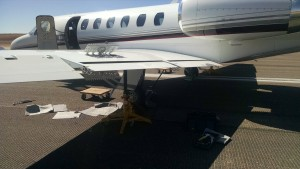 A mechanical malfunction on a chartered Cessna Citation aircraft that landed at the St. George Regional Airport resulted in a 10-hour closure of the airport's runway and the cancellation of three SkyWest Airlines flights, St. George, Utah, April 2, 2016 | Photo courtesy of Operations Supervisor Brad Kitchen, St. George News