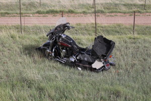 A Millard County Sheriff's Deputy was killed Friday afternoon on Interstate-15 after he rolled his motorcycle down the embankment near Kanarraville, Utah April 22, 2016 | Photo by Tracie Sullivan, St. George/Cedar City News