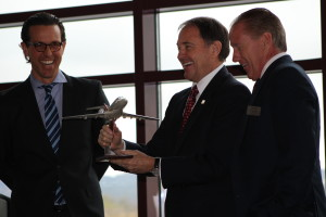MSC Aerospace representatives present Governor Gary Herbert with his own Syberjet Tuesday during the press conference to announce the new Utah Aerospace Pathways Program in Iron County School District this coming fall. Cedar City, Utah, April 26, 2016 | Photos taken by Cedar City News Reporter Tracie Sullivan. St. George/Cedar City News Reporter
