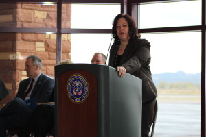 Iron County School District Shannon Dulaney discusses the launching of the new Utah Aerospace Pathways Program in Cedar City. The program already has 14 high school seniors enrolled this next fall. Cedar City, Utah April 26, 2016 | Photos taken by Cedar City News Reporter Tracie Sullivan. St. George/Cedar City News