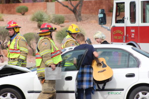 A collision between a Honda Civic and a Pontiac Firebird resulted in both vehicles being towed and a citation issued for the juvenile driver of the Pontiac in St. George, Utah, April 7, 2016   Photo by Don Gilman, St. George News