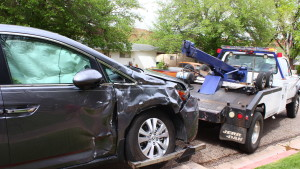 A three-vehicle collision sent two men to the hospital on Friday afternoon in St. George, Utah, April 8, 2016 | Photo by Don Gilman, St. George News