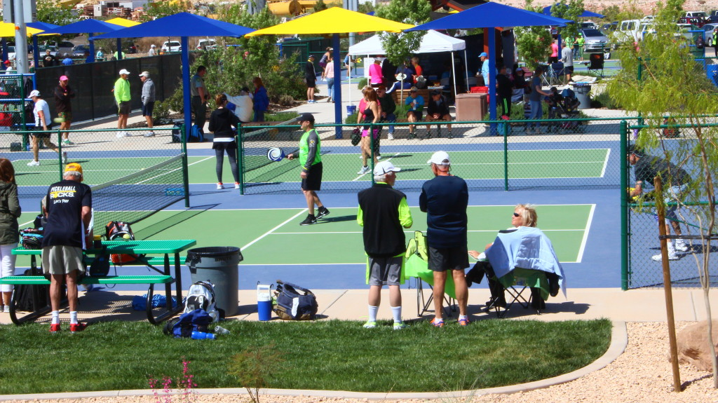 Spectators take in a match at the USA Pickleball Association West Regional Tournament held in St. George, Utah, April 15-16, 2016 | Photo by Don Gilman, St. George News