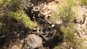 A cement mixing truck rolled off an estimated 100 foot high cliff and crashed into the bottom of a gorge in Toquerville, Utah April 22, 2016 | Photo by Don Gilman, St. George News
