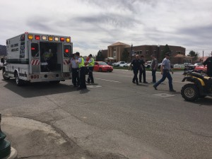 An ATV driver sustained minor injuries Monday after his ATV collided with a vehicle Monday on Main Street. Cedar City, Utah, April 4, 2016 | Photo by Tracie Sullivan, St. George News