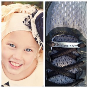 Combined image. L-R Pictured is Kycie Terry, age 5, who passed away from complications due to undiagnosed Type 1 diabetes and Josh Terry's running shoe bearing a band honoring Kycie, Boston, Massachusetts, April 18, 2016   Photo courtesy of Josh Terry, St. George News