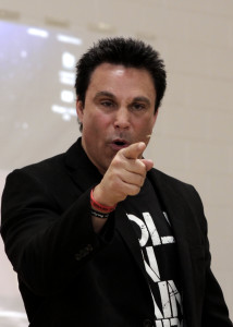 Former professional wrestler and motivational speaker Marc Mero educates the audience about choices, Paiute Tribal Center, Cedar City, Utah, March 31, 2016 | Photo by Carin Miller, St. George News