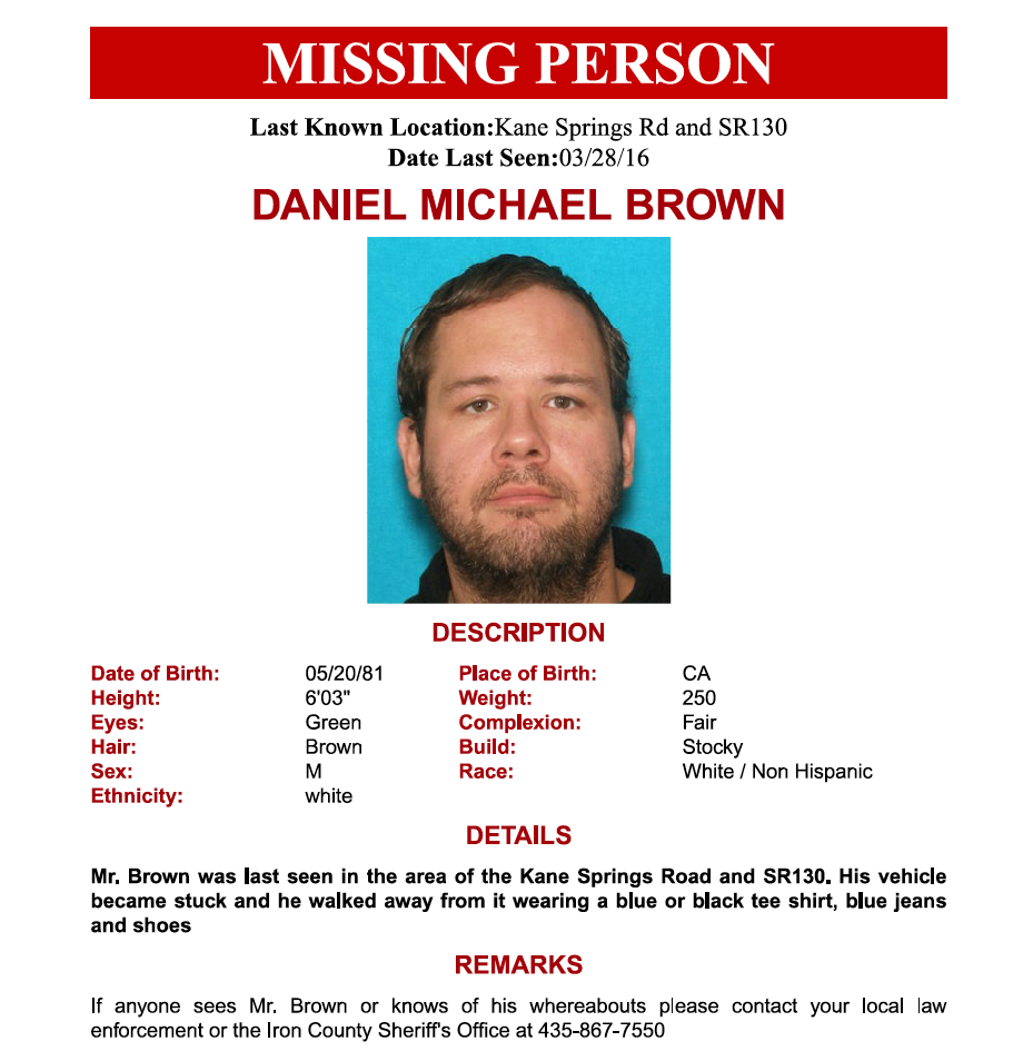 Missing person flyer for Daniel Michael Brown courtesy of Iron County Sheriff's Office, Cedar City News / St. George News