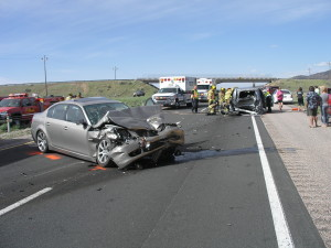 A temporary closure on Interstate-15 Friday afternoon due to a motorcycle accident at milepost 48 triggered a three-car pileup at milepost 47 just minutes after authorities closed the road. Kanarraville, Utah April 22, 2016 | Photo courtesy of Utah Highway Patrol, St. George/Cedar City News