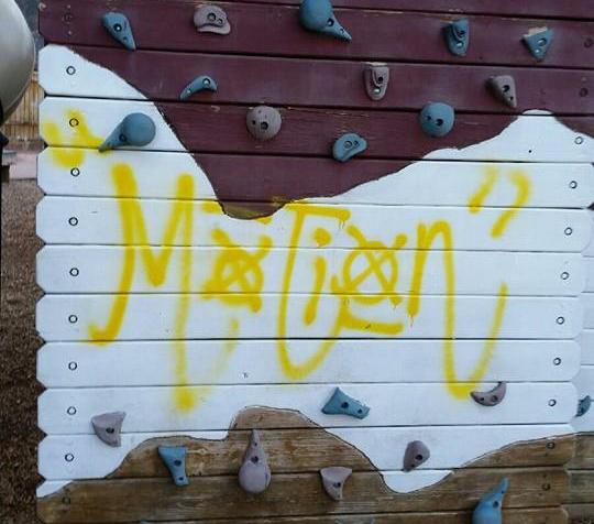 Vandalism at Park Discovery, Cedar City, Utah, April 16, 2016 | Photo by Liz Okeson with Cedar City Leisure Services, Cedar City News