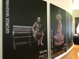 "Posters of the artists' sculptures are displayed during the ""Art Around the Corner Gala Reception"" held in the Dixie Academy Building, St. George, Utah, April 8, 2016 