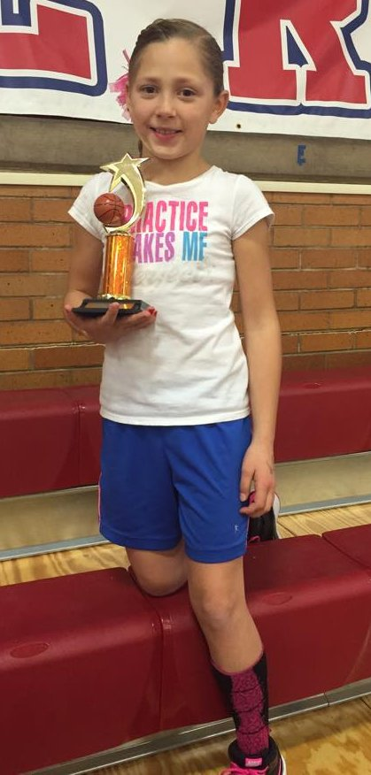Raylee Ross, shown here after winning the St. George-area competition, is competing at the Elks Hoops Shoot National Finals today.   Photo courtesy Kevin Ross