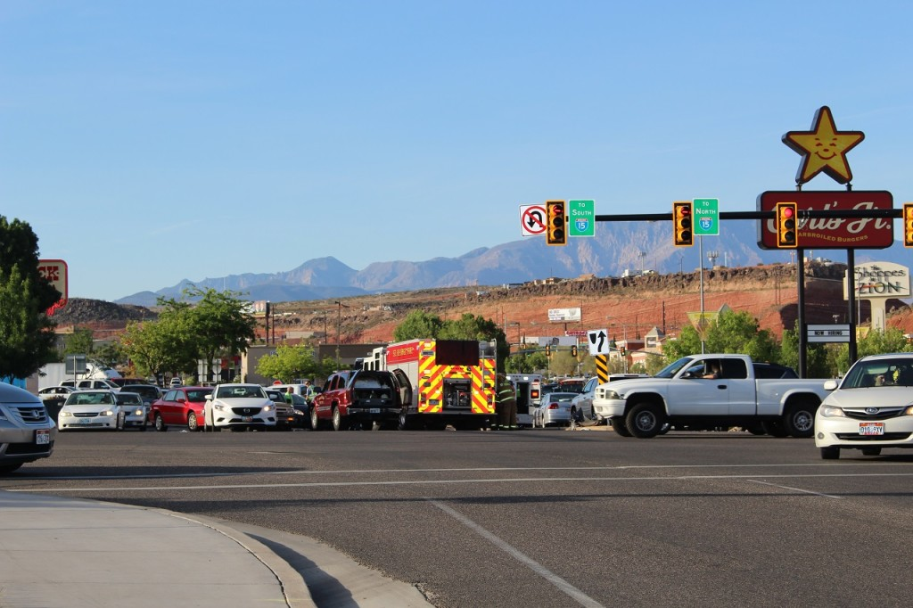 Intersection where multi-car collision initiated by a driver suspected of DUI, Intersection of East St. George Boulevard and North River Road, St. George, Utah, Apr. 20, 2016|Photo by Cody Blowers, St. George News