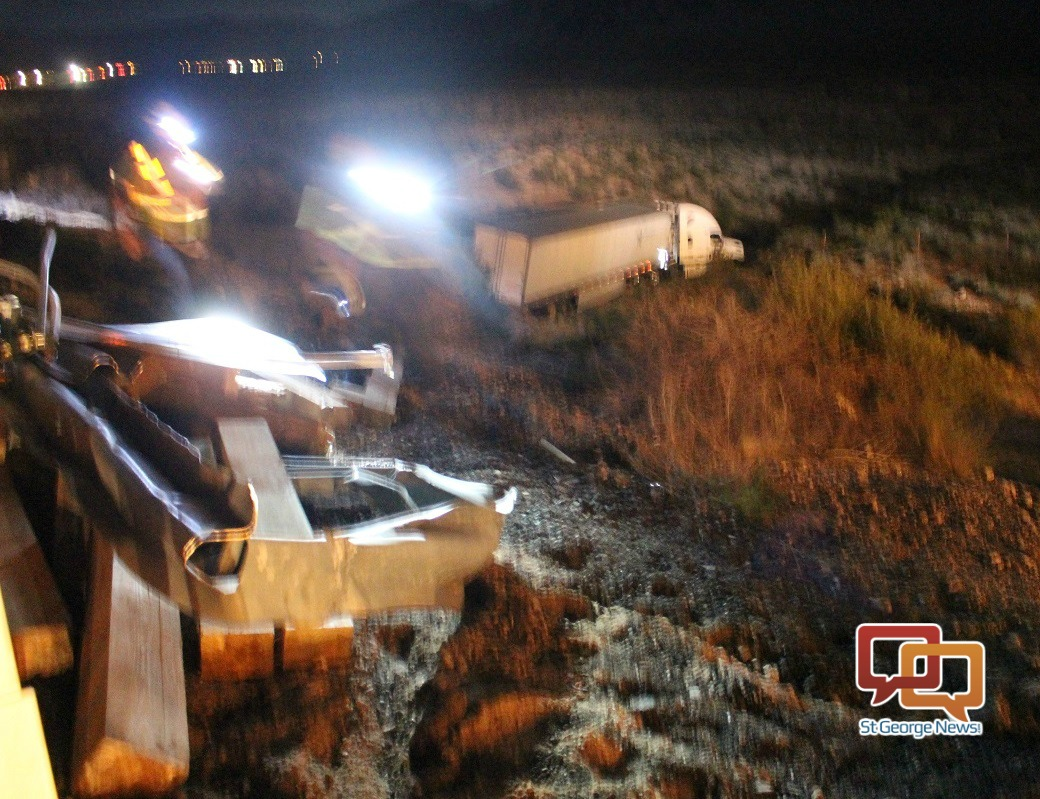 Semitractor-trailer that crashed down 30-foot embankment on Interstate 15 northbound at Arizona mile marker 5, Mohave County, Arizona, April 19, 2016| Photo by Cody Blowers, St. George News
