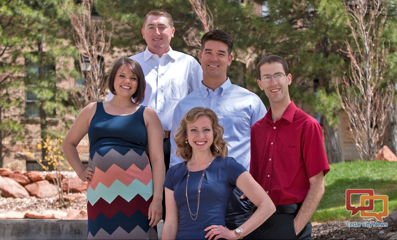Southern Utah University's College Valedictorians for the Class of 2016. Front row L-R: Danikka Johnson, Kelli Christiansent; back row L-R: Clay Crozier, Josh Kariya, James Wilcken. Cedar City, Utah, date not specified | Photo courtesy of Southern Utah University, St. George News