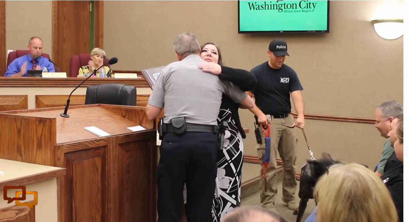 L-R: Police Chief Jim Keith, Havoc K9 Director Ricki Draper. Keith recognizes Havoc K9 for its donation of the Police Department's latest police dog, K-9 Officer Tank. Washington City Council chambers. Washington, Utah, April 13, 2016 | Photo by Mori Kessler, St. George News