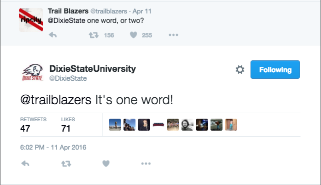 Oregon NBA team the Portland Trail Blazers initiates a twee exchange with Dixie State University over its new brand, the Trailblazers. April 11, 2016 | Image via @Dixie State Twitter feed, St. George News