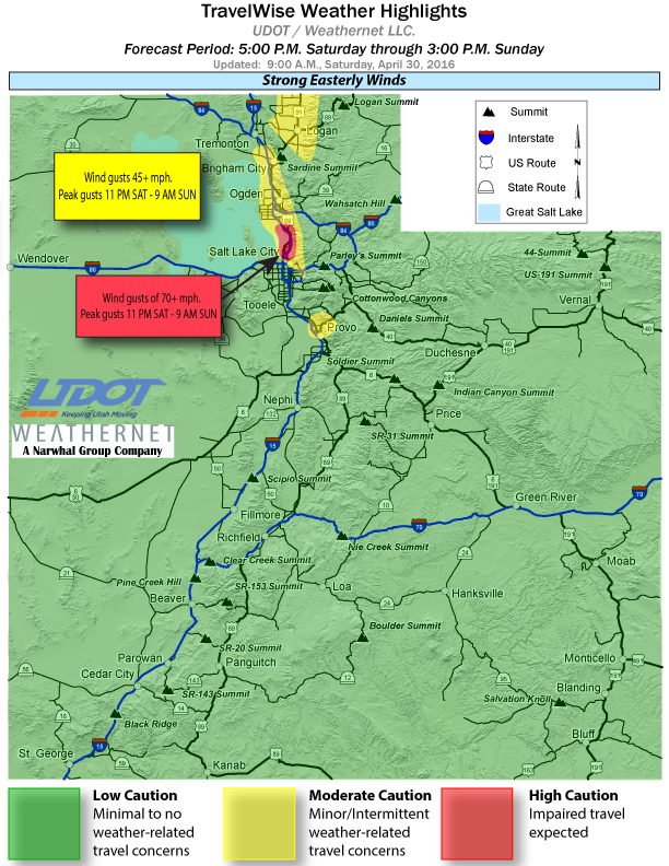 Utah Department of Transportation travel alert highlights as of Saturday at 9 a.m. | Map courtesy of UDOT, St. George News | Click on image to enlarge