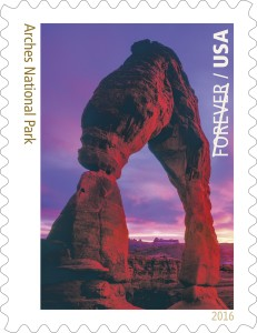 The preview of the Arches National Park forever stamp, which is one of 16 stamps to be released by the Postal Service honoring the 100th anniversary of the National Parks, Undated | Photo courtesy of the United States Postal Service, St. George News