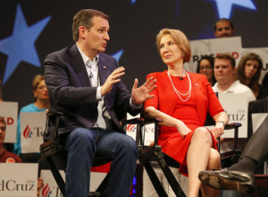 Republican presidential candidate, Sen. Ted Cruz, R-Texas speaks to Carly Fiorina. According to an AP source, Cruz has picked Fiorina as his running mate Orlando, Florida, Friday, March 11, 2016. Photo by Mike Carlson, Associated Press, St. George News