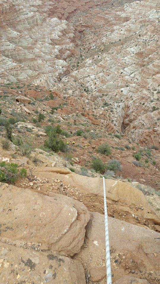 Rope used by search and rescue crews for rapelling shows distance of 350-foot cliff where a dog fell from Gooseberry Mesa, Washington County, Utah, April 7, 2016| Photo courtesy of Washington County Search and Rescue, St. George News
