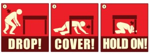"The three steps of ""Drop, Cover, and Hold on,"" that are recommended in order to survive an earthquake 