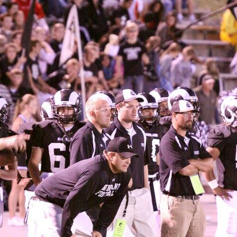 Mike Esplin (with arms folded) helped coach the Highland Rams to the 2010 4A state championship. | Photo courtesy Mike Esplin.