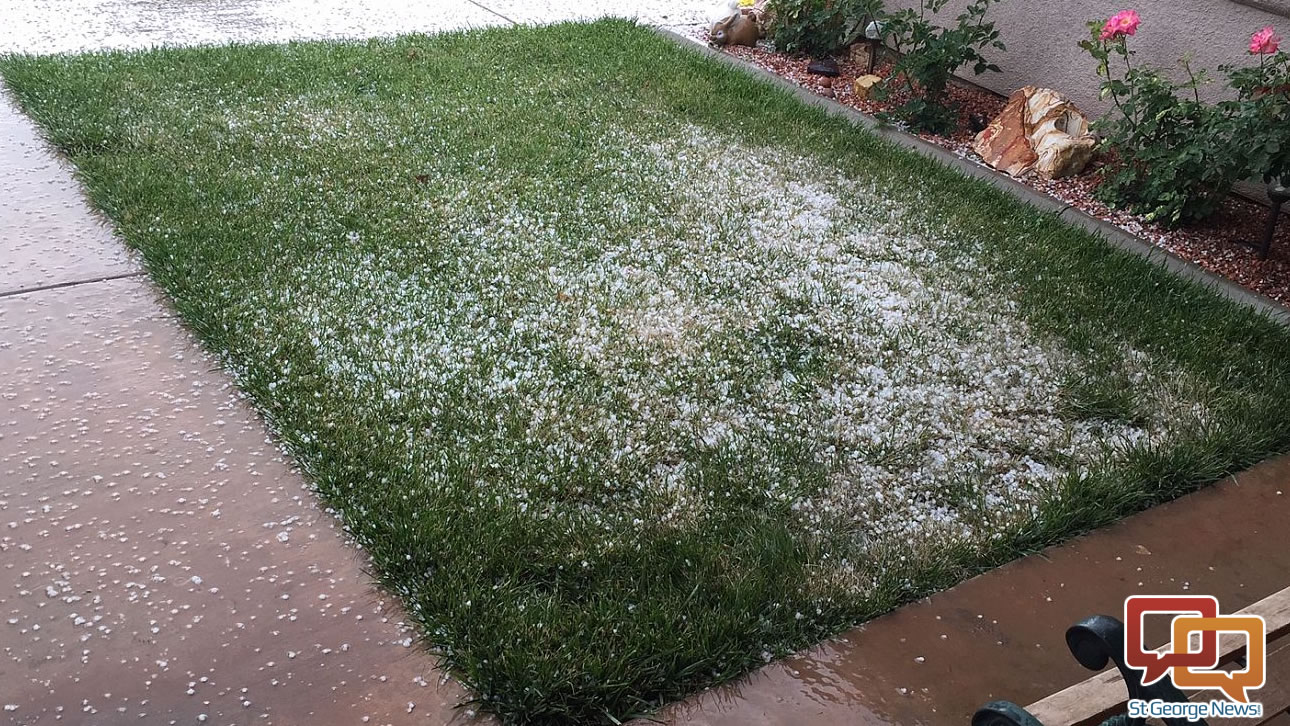 Hail on the ground Monday morning, LaVerkin, Utah, April 25, 2016 | Photo by Ron Chaffin, St. George News