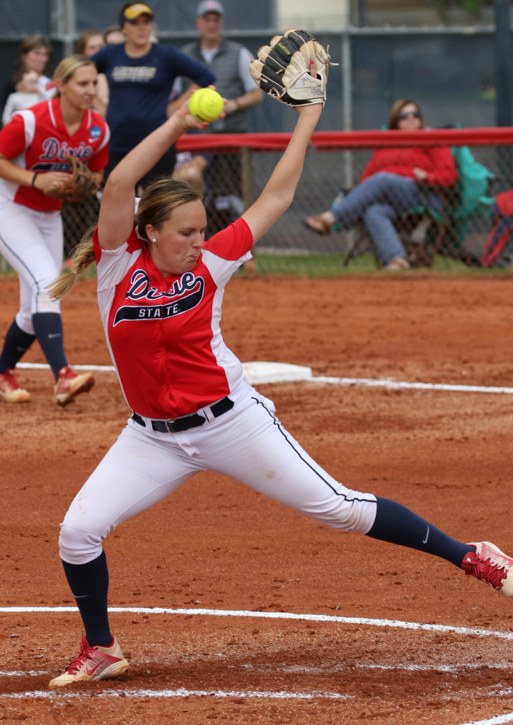 Dixie State's Aryn Feickert (7) Dixie State University vs. California Baptist University, Softball , St George, Utah, Apr. 8, 2016, | Photo by Kevin Luthy, St. George News