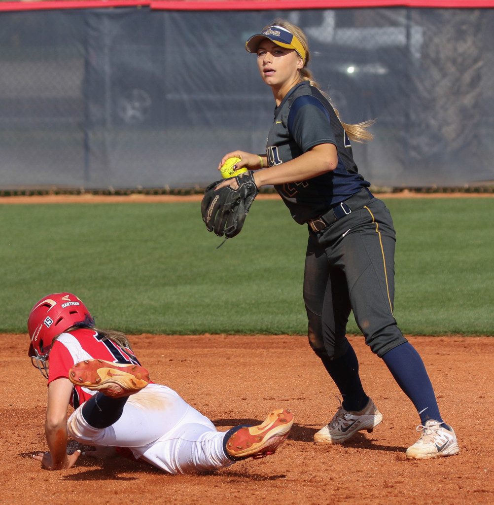 Dixie State's Josey Hartman (15) Dixie State University vs. California Baptist University, Softball , St George, Utah, Apr. 8, 2016, | Photo by Kevin Luthy, St. George News