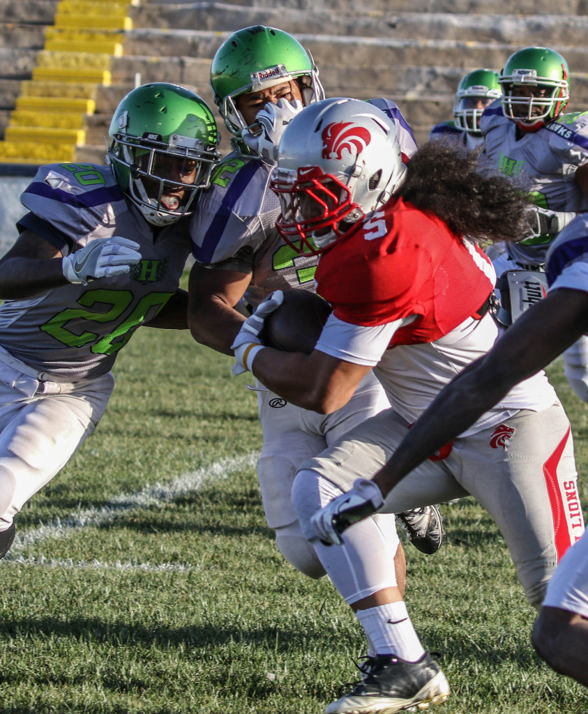 Zion Lions' Rimo Mapu (5) rushed for over 100 yards vs. Davis. File photo from Zion Lions vs.Vegas Hawks, Football, St. George, Utah, Apr. 16, 2016, | Photo by Kevin Luthy, St. George News