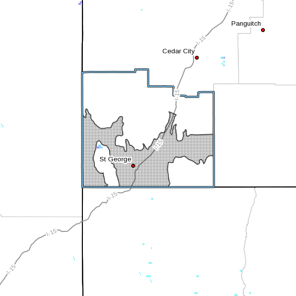 Dotted area denotes area subject to high wind advisory for Washington County, Utah, April 16, 2016, radar time 7:53 a.m. | Map courtesy of the National Weather Services, St. George News | Click on map to enlarge