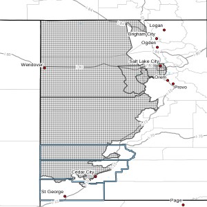 Wind advisory, Washington and Iron counties, map courtesy National Weather Service Salt Lake City, April 21, 2016 | St. George News