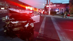 A woman was taken to the hospital following an early-morning crash at the intersection of Bluff Street and 700 South, St. George, Utah, April 7, 2016 | Photo courtesy of Craig Harding, St. George News