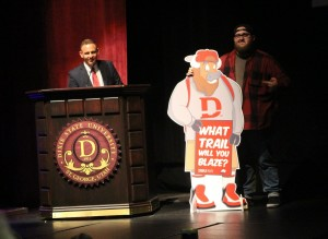 A standee of Brooks the Bison, created and presented by Dixie State University student Colton Campbell, at the reveal of DSU's the new identity and mascot, St. George, Utah, April 11, 2016 | Photo by Mori Kessler, St. George News