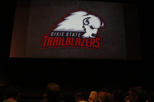 Atrendees at the reveal of DSU's the new identity and mascot get a look at one the school's new logos, St. George, Utah, April 11, 2016 | Photo by Mori Kessler, St. George News