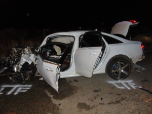 A 22-year-old woman was killed and a 16-year-old boy was critically injured in a four-vehicle crash on state Route 59 near milepost 3. Two others, a mother and her young child, experienced minor injuries, Hildale, Utah, April 12, 2016 | Photo courtesy of the Utah Highway Patrol, St. George News