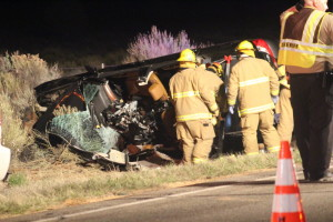 A 21-year-old woman was killed and a 16-year-old boy was critically injured in a four-vehicle crash on state Route 59 near milepost 3. Two others, a mother and her young child, experienced minor injuries, Hildale, Utah, April 12, 2016   Photo by Mori Kessler, St. George News