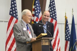 Retiring Washington County Commissioner Alan Gardner is recognized and honored for his years of service by the state, as represented by Lt. Gov. Spencer Cox, Washington County Republican nominating convention, Hurricane, Utah, April 16, 2016 | Photo by Mori Kessler, St. George News