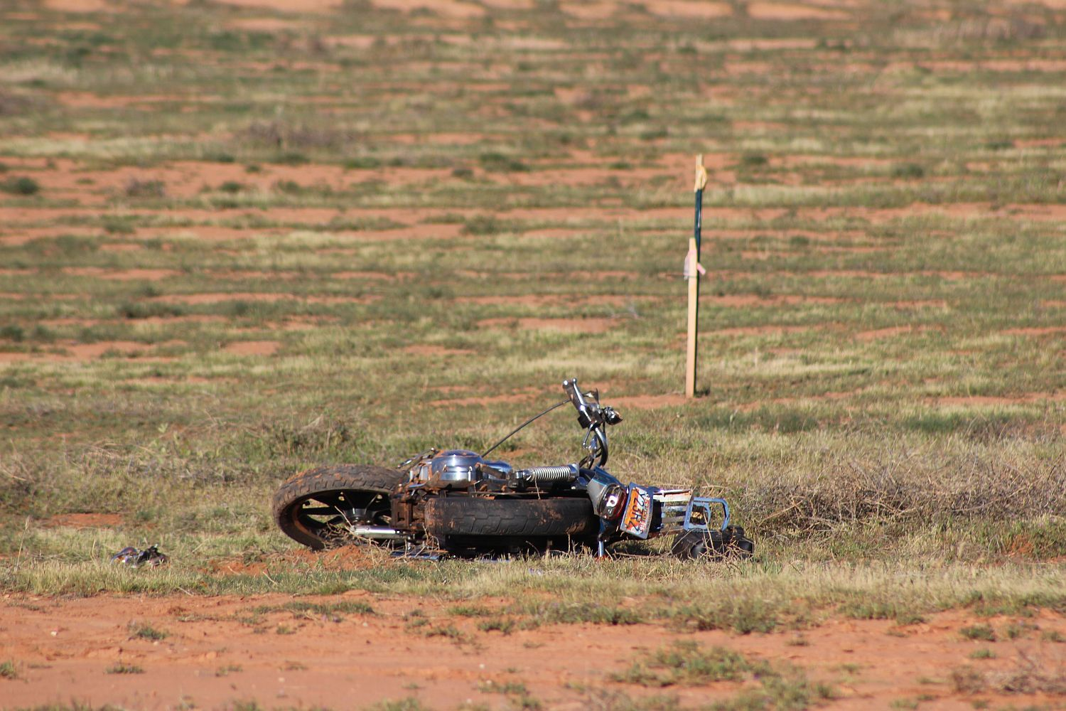 A motorcycle lays in a field after being wrecked Saturday morning. The rider lay in the field for over four hours before being discovered. Washington, Utah, April 16, 2016 | Photo by Ric Wayman, St. George News