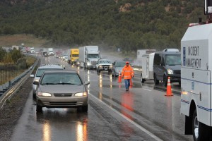 Backup extended about 1/2 mile from an accident that occurred on southbound Interstate 15 at milepost 36 Saturday morning. The incident closed the right lane for almost an hour. Washington County, Utah, April 9, 2016 | Photo by Ric Wayman, St. George News