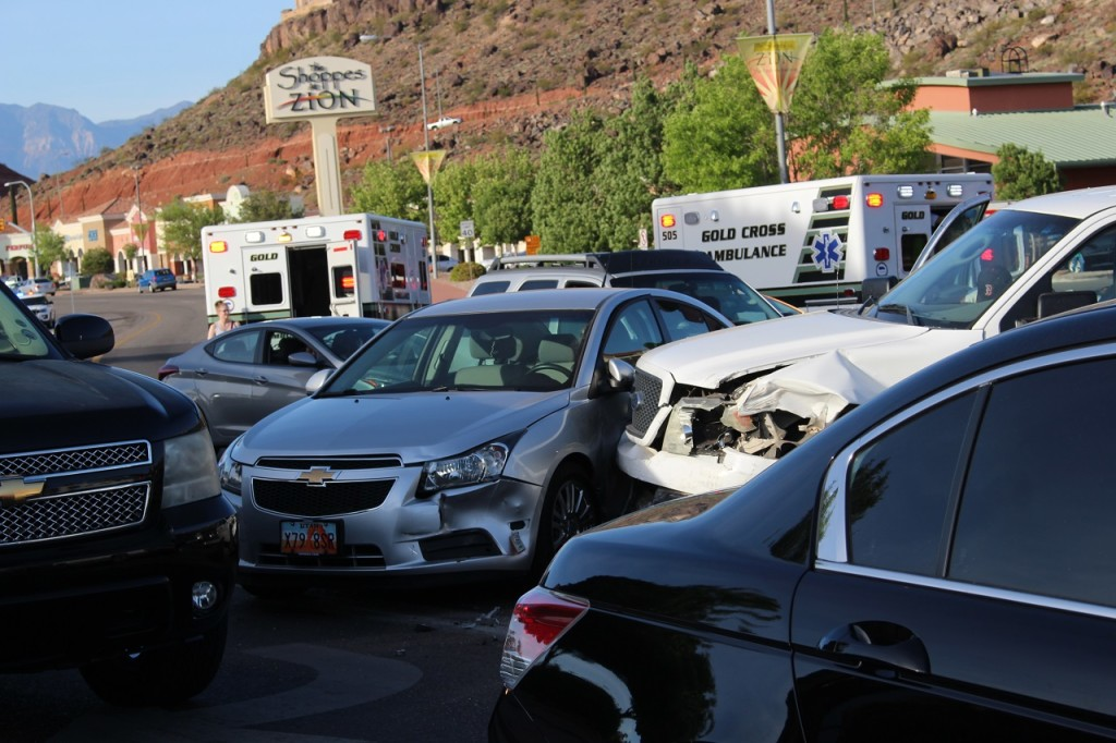 Extensive damage and multiple injuries caused by 8-car collision initiated by a driver suspected of DUI, Intersection of East St. George Boulevard and North River Road, St. George, Utah, Apr. 20, 2016|Photo by Cody Blowers, St. George News