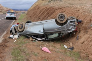 Two people were injured in a rollover accident Monday on I-15 just before the Utah state line. Mohave County, Arizona, April 25, 2016 | Photo by Ric Wayman, St. George News